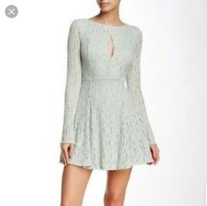 Free People lace keyhole mini dress mint green xs